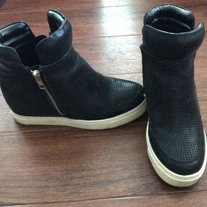 Wedge sneaker booties!...CUTE...leather